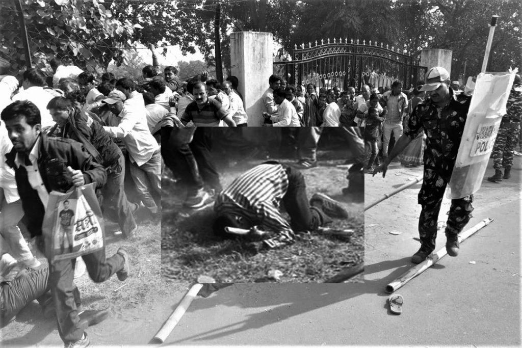 झारखंड स्थापना दिवस के अवसर पर पारा शिक्षकों को दौड़ा कर पीटा गया